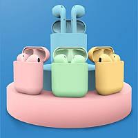 Беспроводные наушники  in pods 12 macaron  в стиле Apple AirPods сенсорные с кейсом (Розовые)