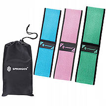 Резинка для фитнеса и спорта тканевая Springos Hip Band 3 шт., фото 3