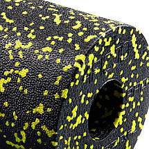 Массажный ролик (валик, роллер) гладкий 4FIZJO EPP PRO+ 33x14 см Black/Yellow, фото 3