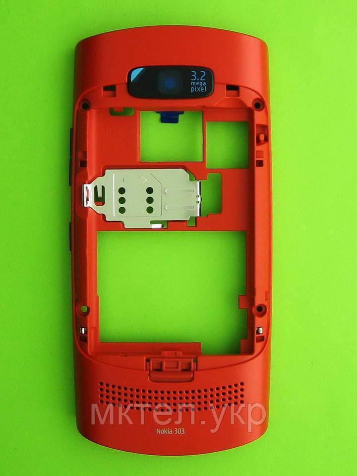 Средняя часть Nokia Asha 303 в сборе, красный Оригинал #0259377