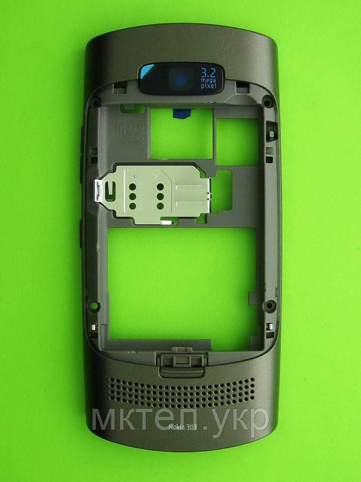 Средняя часть Nokia Asha 303 в сборе, серый Оригинал #0259375