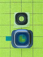 Стекло камеры c рамой Samsung Galaxy S6 G920, синий orig-china