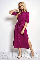 Платье рубашка цвета фуксия с разрезами.. ( 2 расцветки)