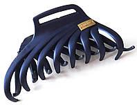 Краб для волос каучуковый большой 9х5 см темно-синий
