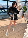 Бархатное короткое платье худи с длинным рукавом 66031229Q, фото 2