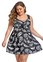 Купальник платье женский больших размеров 64 - 74 черный с принтом белый