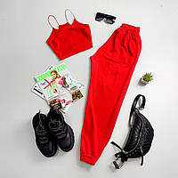 Женский спортивный костюм с топом - майкой и штанами на манжетах 6605943Е