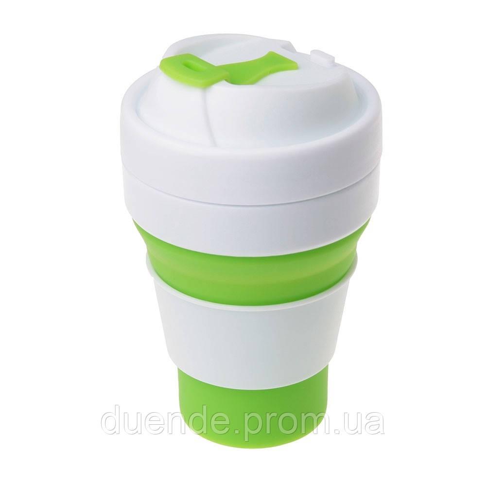 Складная силиконовая чашка с крышкой 355 мл, от 10 шт / su 886001