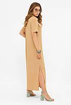 Максі плаття сорочка з бавовни довге на гудзиках вільний літній 42,44,46,48-50, фото 3