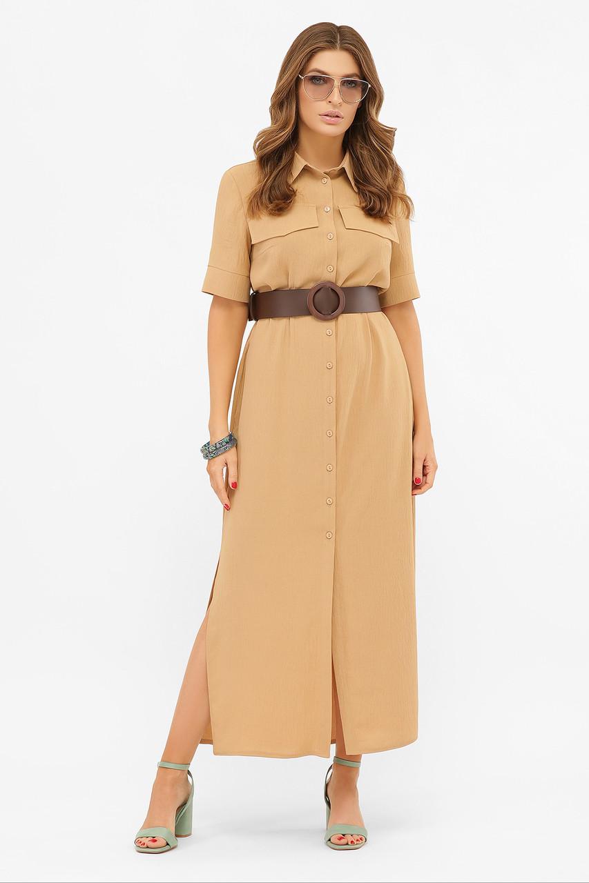 Максі плаття сорочка з бавовни довге на гудзиках вільний літній 42,44,46,48-50