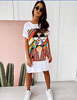 Платье футболка молодежное свободного кроя c цветным принтом в двух цветах