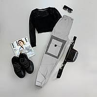 Женский спортивный костюм с черным топом из сетки и светоотражающими штанами 66SP952Е, фото 1