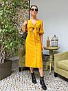 Льняное платье на лето с пуговицами на юбке и лифом на завязке 63py1234, фото 2