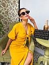 Льняное платье на лето с пуговицами на юбке и лифом на завязке 63py1234, фото 3