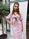 Льняное платье на лето с пуговицами на юбке и лифом на завязке 63py1234, фото 4