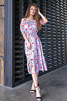 Приталенное женское платье с открытым декольте ниже колен 42, 44, 46, 48