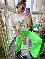 Женские трикотажные брюки - трубы с разрезами 71SH484, фото 1
