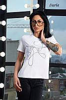 Женская футболка на лето с рисунком в черном и белом цвете 55FU309, фото 1