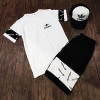 Спортивный костюм мужской летний Adidas. Футболка, Шорты, кепка Adidas