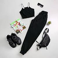 Женский спортивный костюм с топом - майкой и штанами на манжетах 66spt943Е