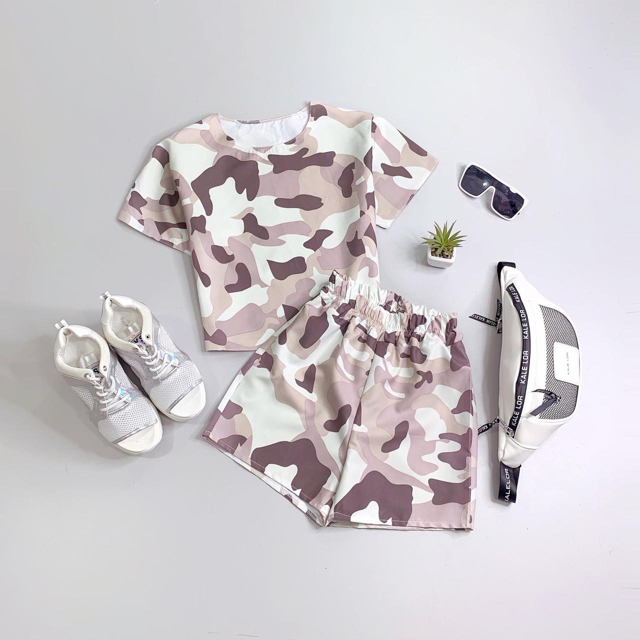Женский спортивный летний костюм милитари с футболкой и шортами 66spt944Е