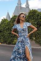 Летнее платье на запах из принтованного штапеля длиной миди 14mpl1220, фото 1
