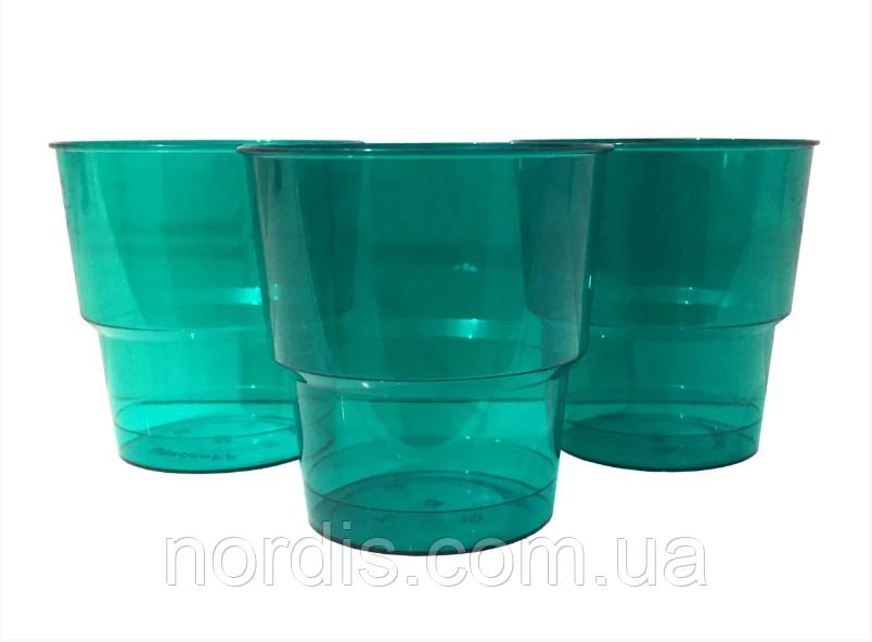 Стаканчик. одноразовый. стекловидный. зелёный (10 штук)