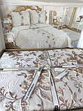 Жаккардовое покрывало с бахрамой Тм My Bed 240х260 Dantela 3 кремовый, фото 3