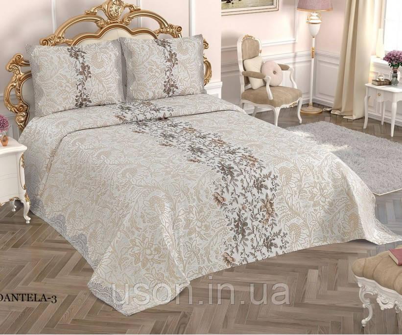 Жаккардовое покрывало с бахрамой Тм My Bed 240х260 Dantela 3 кремовый