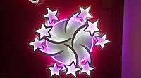 Светодиодная Led люстра Звезды 8163/6+3WH LED 3color dimmer