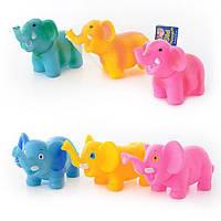 Животное F 1218-10 (слоник, пищалка, 6 цветов, в сетке, 30-12-12см)