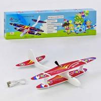 Самолет 368(49939) аккум, 28см, пенопласт, 3вида, USBзарядное, в кор-ке,31,5-8,5-3см