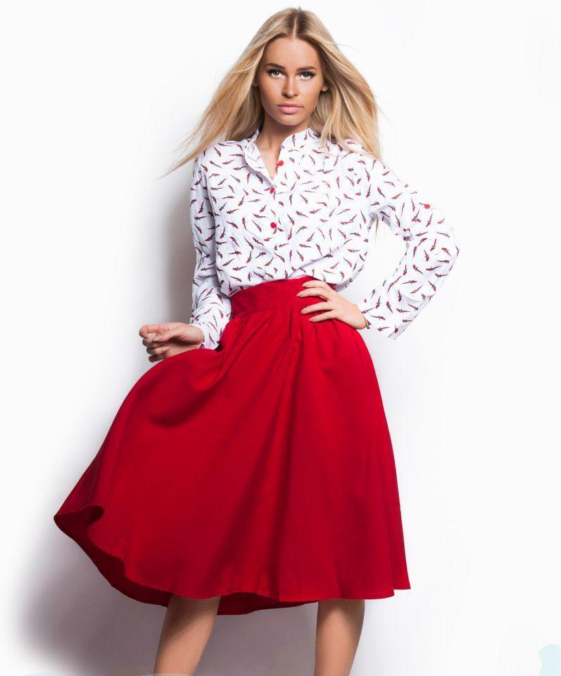 Купить Женская юбка полусолнце клеш красного цвета 44 размера