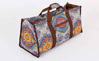 Сумка для фитнеса и йоги Yoga bag DoYourYoga FI-6971-1 (размер 22х24х54см, полиэстер, хлопок, серый-оранжевый) Код FI-6971-1