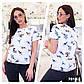 """Женская стильная футболка в больших размерах 7010 """"Хлопок Принт Шеврон"""" в расцветках, фото 2"""