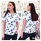 """Женская стильная футболка в больших размерах 7010 """"Хлопок Принт Шеврон"""" в расцветках, фото 5"""