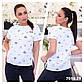 """Женская стильная футболка в больших размерах 7010 """"Хлопок Принт Шеврон"""" в расцветках, фото 3"""