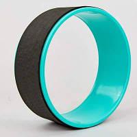 Колесо-кольцо для йоги FI-8374 Fit Wheel Yoga (EVA, PP, р-р 33х13см, черный-бирюзовый) Код FI-8374