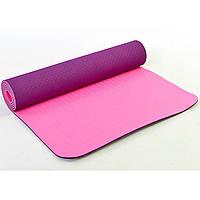 Коврик для фитнеса и йоги TPE+TC 6мм двухслойный фиолетово-розовый FI-3046-10, фото 1