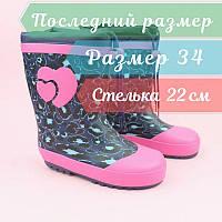 Резиновые детские сапожки для девочки Сердце тм Bi&Ki размер 34, фото 1