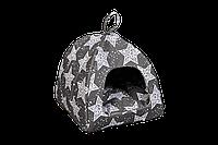 """Домик-лежак (лежанка) для котов и собак Мур-Мяу """"Юрта-1"""" Серый"""