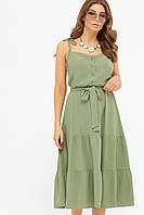 Элегантный длинный женский сарафан оливкового цвета.Женские сарафаны на лето.