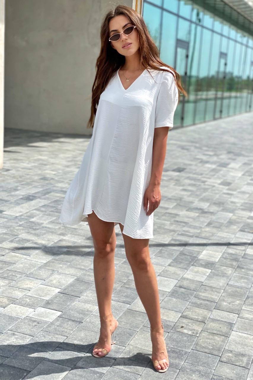 Необычное платье over-size с коротким рукавом  VOOL Style - белый цвет, M (есть размеры)