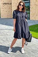 Модное летнее платье с объемными рукавами-фонариками  Crep - черный цвет, L (есть размеры), фото 1