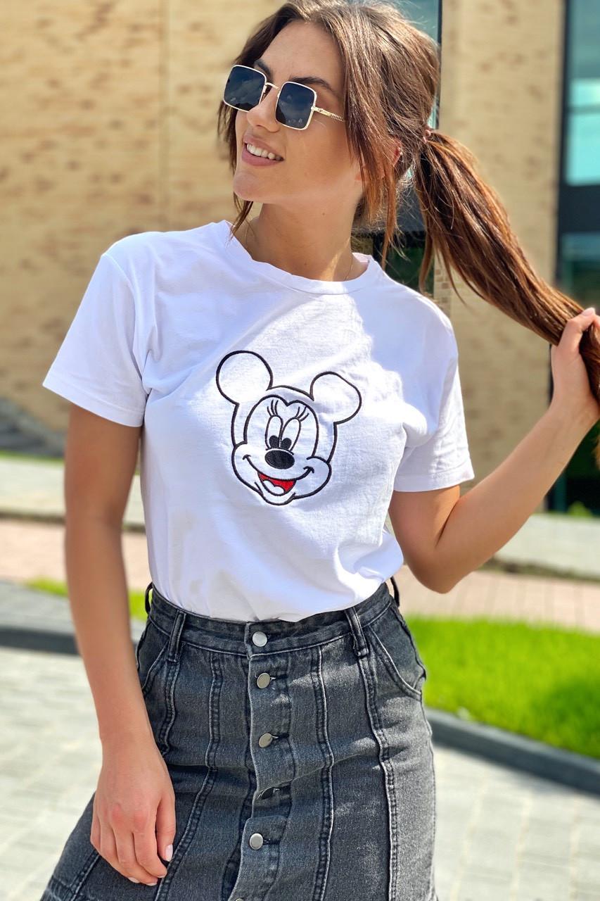 Футболка женская с вышивкой Микки Маус  LUREX - белый цвет, L (есть размеры)