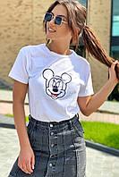 Футболка женская с вышивкой Микки Маус  LUREX - белый цвет, L (есть размеры), фото 1