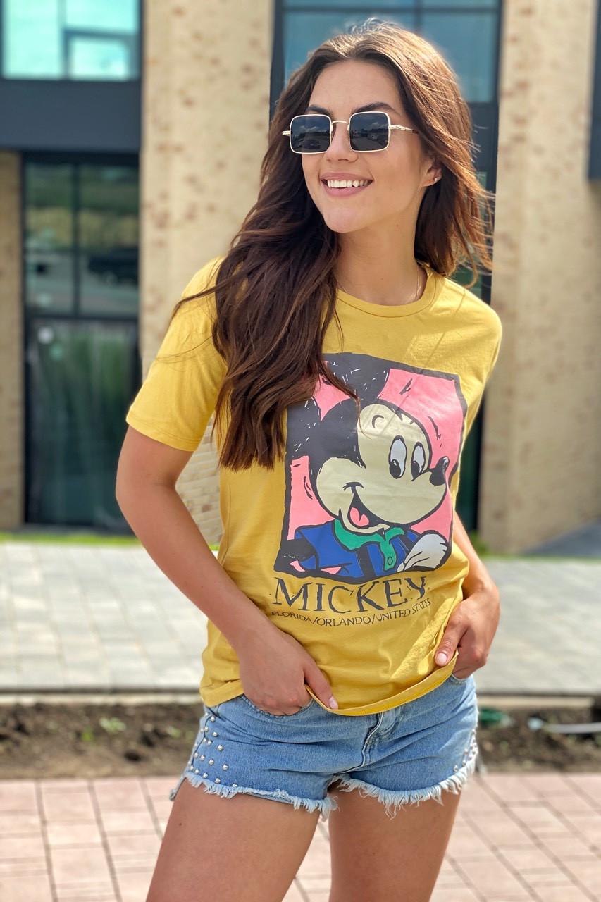 Хлопковая футболка женская с принтом Микки и надписью  LUREX - горчичный цвет, L (есть размеры)