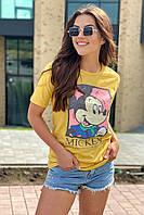 Хлопковая футболка женская с принтом Микки и надписью  LUREX - горчичный цвет, L (есть размеры), фото 1