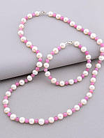 Комплект женских украшений бусы и браслет выполнены из натуральных камней рубин и жемчуг диаметр бусин 7 мм