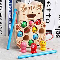 Деревянная игрушка Рыбалка «Лягушка», развивающие товары для детей.